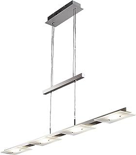 B.K.Licht suspension LED, lustre filaire design moderne verre satiné, hauteur réglable, 4 platines LED 4,5W intégrées, lum...