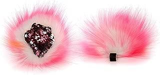 Forbeautiful Women Girl's Cute Sequins Cat Fox Ear Hair Clip Ears Cosplay Hairpin Faux Fur Animal Party Fancy Dress Headwear