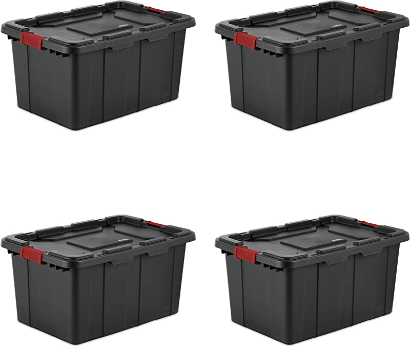 Sterilite 14669004 27 Gallon 102 Liter Industrial Tote Black Lid Base W Racer Red Latches 4 Pack