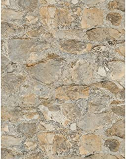 York Wallcoverings PA130904 Weathered Finishes Field Stone Wallpaper, Oyster Shell Grey/Concrete Grey/Graphite Grey