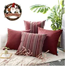 hpuk Christmas Decorative Red Throw Pillow Covers, Set of 4 17 x 17 Cushion Covers, with Woven Check Multi-Pattern Story, Woven Stripes, Wool Look