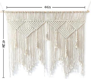 "44""W × 47.2""L Macrame Wall Hanging Boho Chic Woven Tapestry-Cream Beige Bohemian Tassel Art Cotton Rope Woven Large W"