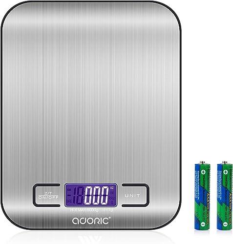 ADORIC Balance Cuisine Electronique Balance de Précision - Balance numérique de Cuisine de Haute Précision, 5kg/1g, A...