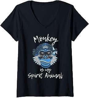 Womens Funny Monkey Shirt - Monkey is My Spirit Animal Kids Gift V-Neck T-Shirt