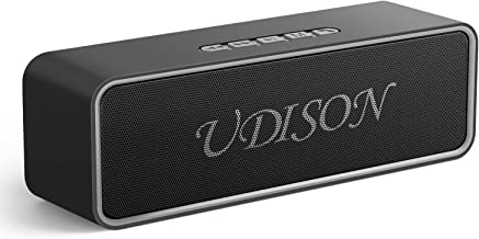 UDISON Wireless Bluetooth 5.0 Speakers, Outdoor Portable Stereo Speaker with 10W Rich Bass,164-328 ft,12-Hour Playtime,Built-in Mic Handsfree, USB Port &TF Card Slot for iPhone, Samsung,Echo Dot(Gray)