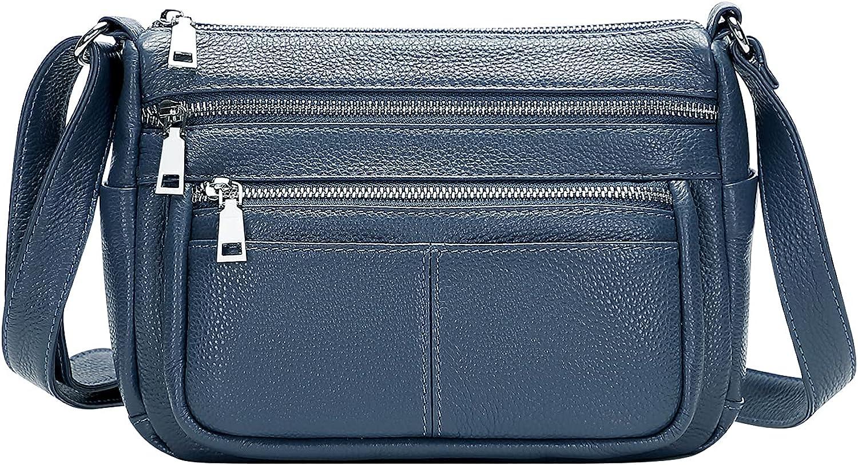 OVER EARTH Crossbody Bag for Women Soft Leather Purses and Handbags Multi Pockets Messenger Bag: Handbags: