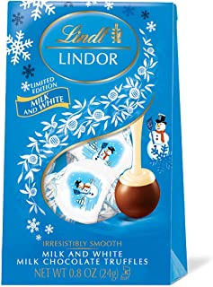 Lindt LINDOR Holiday Snowman Milk & White Chocolate Truffles Mini Gift Bag, Kosher, Great for Holiday Gifting, 0.80 Ounce (Pack of 24)