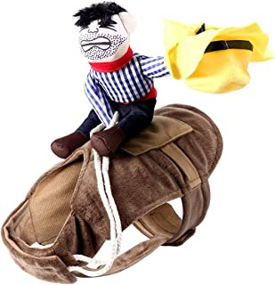ARJOSA Puppy Dog Costume Cowboy Rider Horse Riding Halloween Pet Outfit Apparel