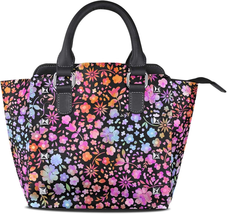 My Little Nest Women's Top Handle Satchel Handbag Pretty colorful Floral Flowers Ladies PU Leather Shoulder Bag Crossbody Bag