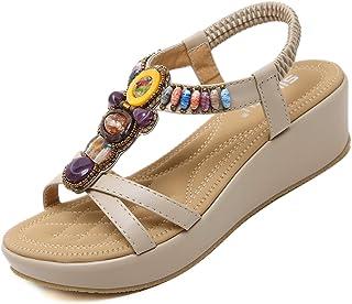 GEWEO Sandales Boheme Femmes Été Chic Talons Hauts pailleté Perle Plage Compensee Chaussures Vintage Tongs Piscine Platefo...