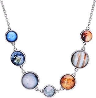 Custom Galaxy Solar System Necklace for Women,Sun and Moon Universe Eight Planets Statement Guardian Star Necklace and Bracelets
