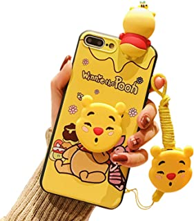 Yellow Eating Honey Winnie iPhone 8 Plus Case/iPhone 7 Plus Cartoon Case for Kids Girls, Cute 3D Animal Character Cover Case for Apple iPhone 7 Plus, iPhone 8 Plus 5.5