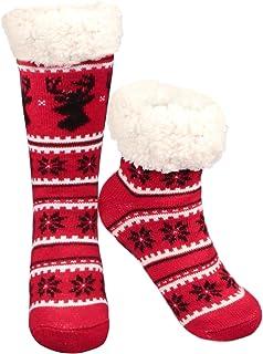Sin calcetines antideslizantes, Regalo de Navidad Ciervos de copo de nieve Cálido y acogedor Calcetines bordados de lana con forro polar y altas calcetines de invierno para mujeres (Rojo)