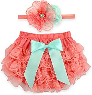 Toptim Baby Girl's Bloomer + Headband Set Lace Diaper Covers (2 Pack)