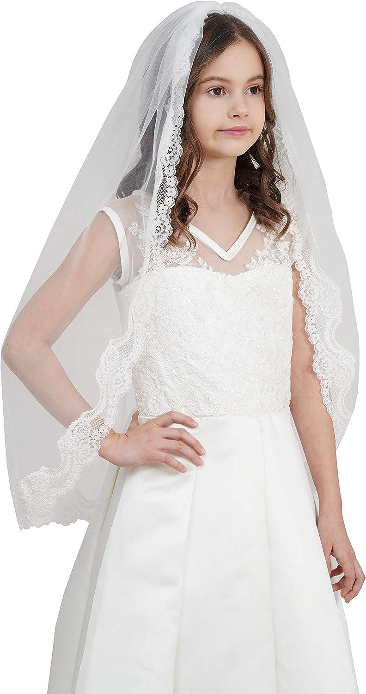 Flower Girl Veil for Wedding with Comb Lace Veil for Flower Girl V93