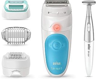 Braun Epilator for Women, Silk-épil 5 5-810 for Hair Removal, Wet & Dry, Bikini Trimmer, Womens Shaver & Trimmer, Cordless, Rechargeable, White/Turquoise