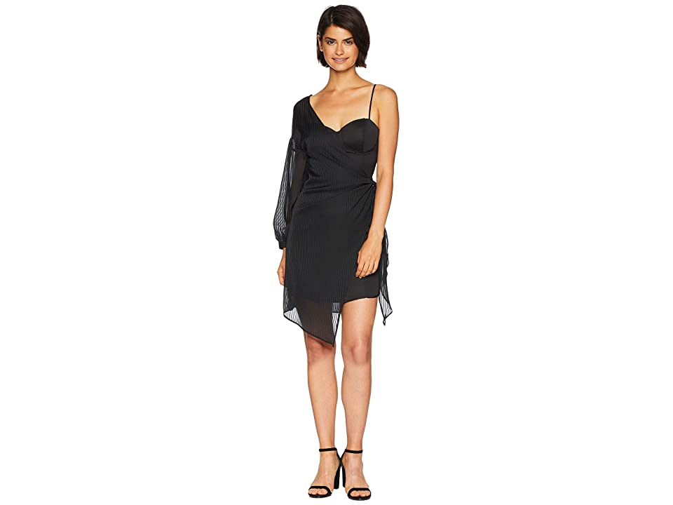 J.O.A. Tie Side One Shoulder Dress (Black Stripe) Women