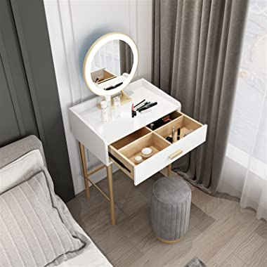 Tolalo Dressing Table with Mirror LED Light Makeup Table Stool Set Modern Dresser Vanity Cushioned Stool Mini Table Beside Th