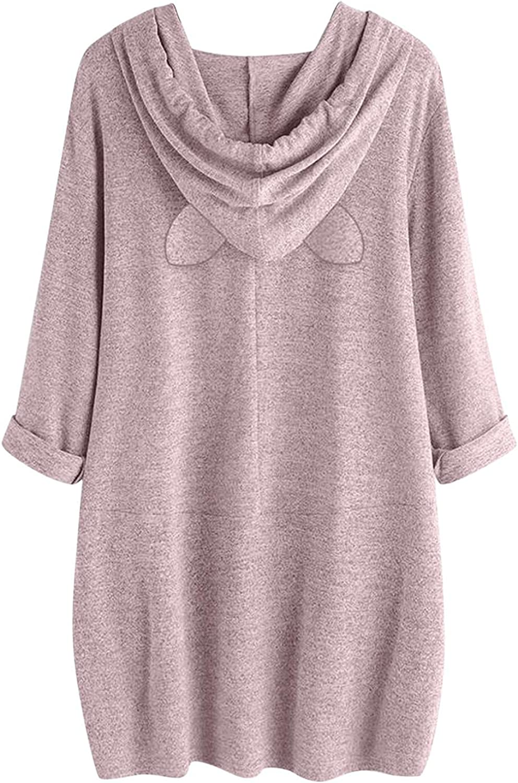 ONHUON Sweatshirts for Women, Womens Teen Girls Fashion Bunny Ear Long Sleeve Hoodies and Sweatshirt Casual Blouse Tops