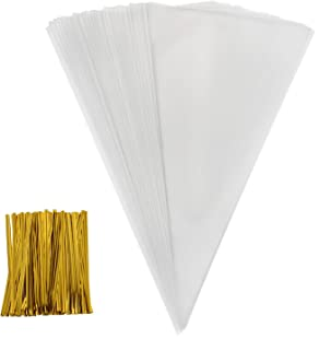 Outus 100 Piece Medium Transparent Cone Bags Clear Cello Bags Sweets Treat Bags with 100 Piece Twist Ties, 11.8 by 6.3 Inch (Gold Twist Ties)