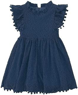 Toddler Girls Elegant Lace Pom Pom Flutter Sleeve Party Princess Dress