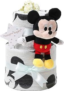 おむつケーキ研究所 ディズニー disney おむつケーキ 出産祝い 身長計付きバスタオル ミッキーマウス ぬいぐるみ ブラック 男の子 パンパース テープタイプ S サイズ