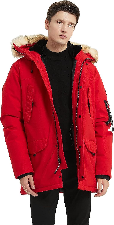 PUREMSX New sales Mens Winter Jacket Men's Down Parka Hood Fur Rare Insulated