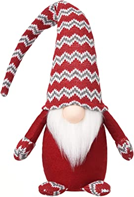 Christmas Plush Gnomes Tomte Gnome Ornaments Handmade Swedish Dwarf Figurine Holiday Elf Home Decorations 19 Inches (Red)
