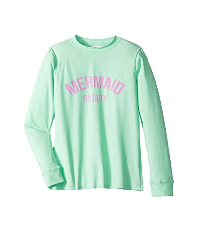 shade critters Mermaid On Duty Raglan Sleeve Rashguard (Little Kids/Big Kids) (Mint) Girl