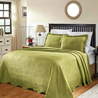 2 Piece Country Sage Green Matelasse Bedspread Set Enchanting Geometric Intersecting Stripe Pattern Detailed Symmetric Design Textured Bedspreads Twin Size Luxurious Look Cotton Shabby Chic Bedding