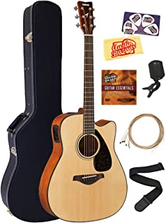 Yamaha FGX800C Solid Top Folk Acoustic-Electric Guitar - Natural Bundle with Hard Case, Tuner, Strings, Strap, Picks, Austin Bazaar Instructional DVD, and Polishing Cloth