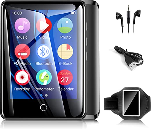 32GB Mp3 Player with Armband, Bluetooth Mp3 Player with FM Radio and Speaker Built in, Portable Music Player with Full Touch Screen…