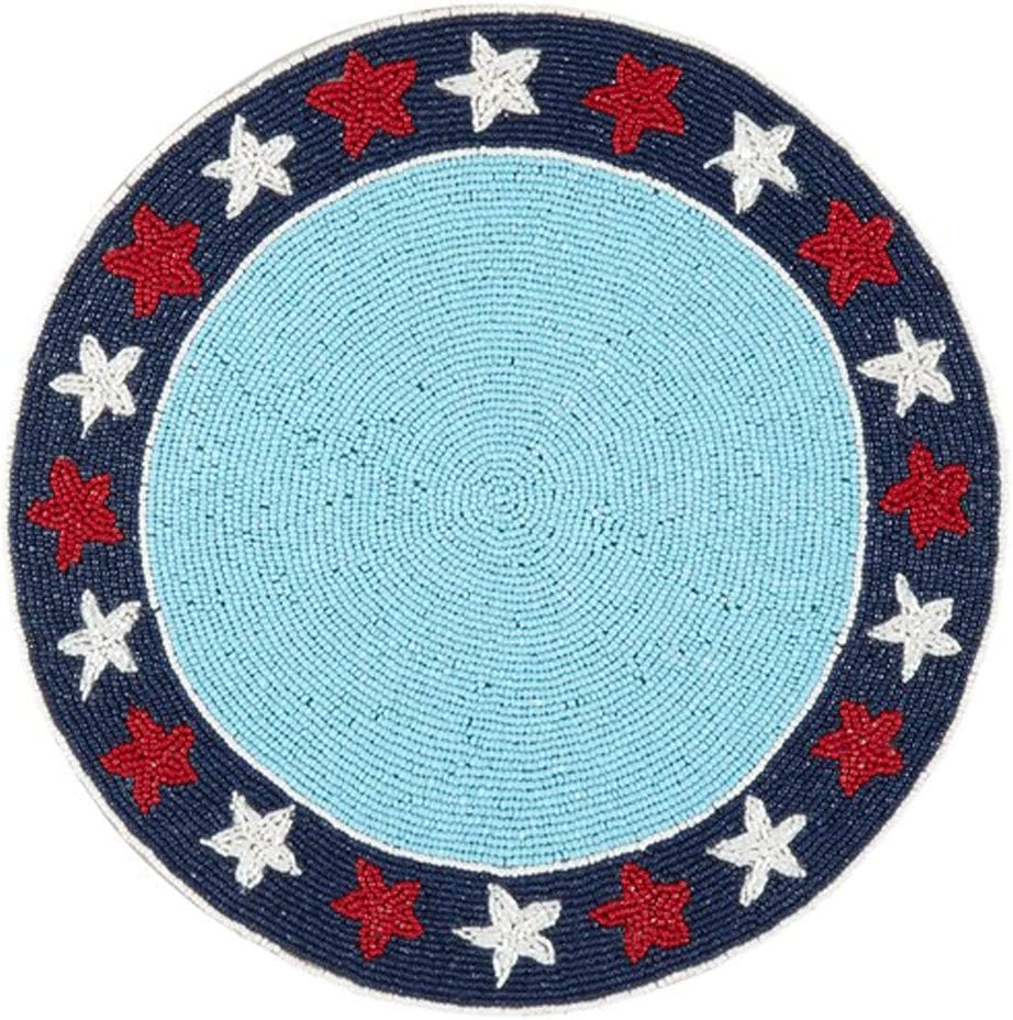 Northeast Home Goods Charlotte Mall Patriotic Americana C Placemat Round Beaded Max 52% OFF