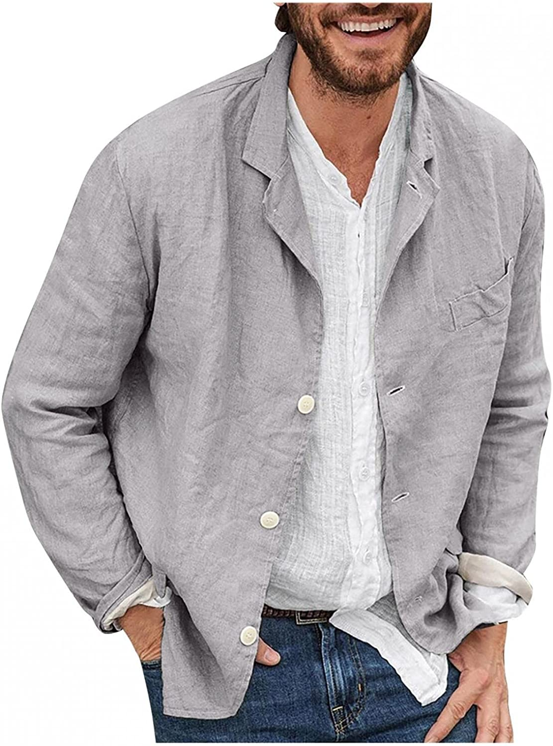 Men's Casual Shirts Coat Solid Lapel Button Down Tops Soft Cozy Cotton Blouse Lightweight Baggy Tees Outwears