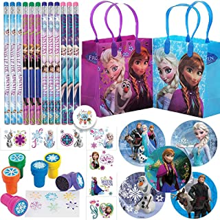 Deluxe Frozen Birthday Party Favors and Goodie Bag Fillers For 12 with Frozen Goody Bags, Pencils, Stickers, Tattoos, Stampers, and Pin