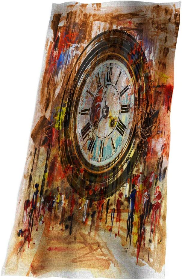 SSOIU Kansas City Mall Clock Bath Towel Mixed Artwork Media People Stree Purchase Charming