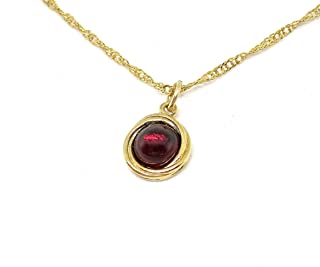 Garnet Necklace, Gold Necklace for Women with Red Stone Pendant, Dainty Minimalist Circle Necklace, Handmade Bohemian Jewelry for Everyday Wear