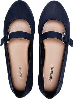 Aukusor Women's Wide Width Flat Shoes - Cozy Pointy Toe Buckle Strap Ballet Flat.
