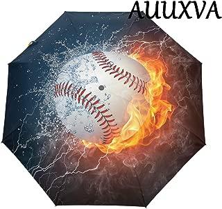 XMCL Ice Fire Baseball Automatic Folding Umbrella Anti-UV Protective Sunblock Windproof & Waterproof Lightweight for Girls Boys Women