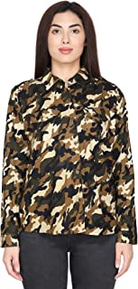 DAMEN MODE Women Printed Army/Military Camouflage Rayon Shirt
