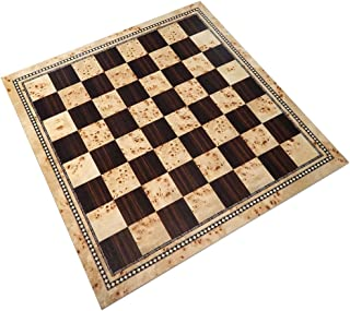 Atlas Tournament Chess Board with Inlaid Burl and Ebony Wood, Extra Large 21 x 21 Inch, Board Only