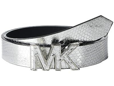 MICHAEL Michael Kors 32 mm Logo Belt (Silver) Women