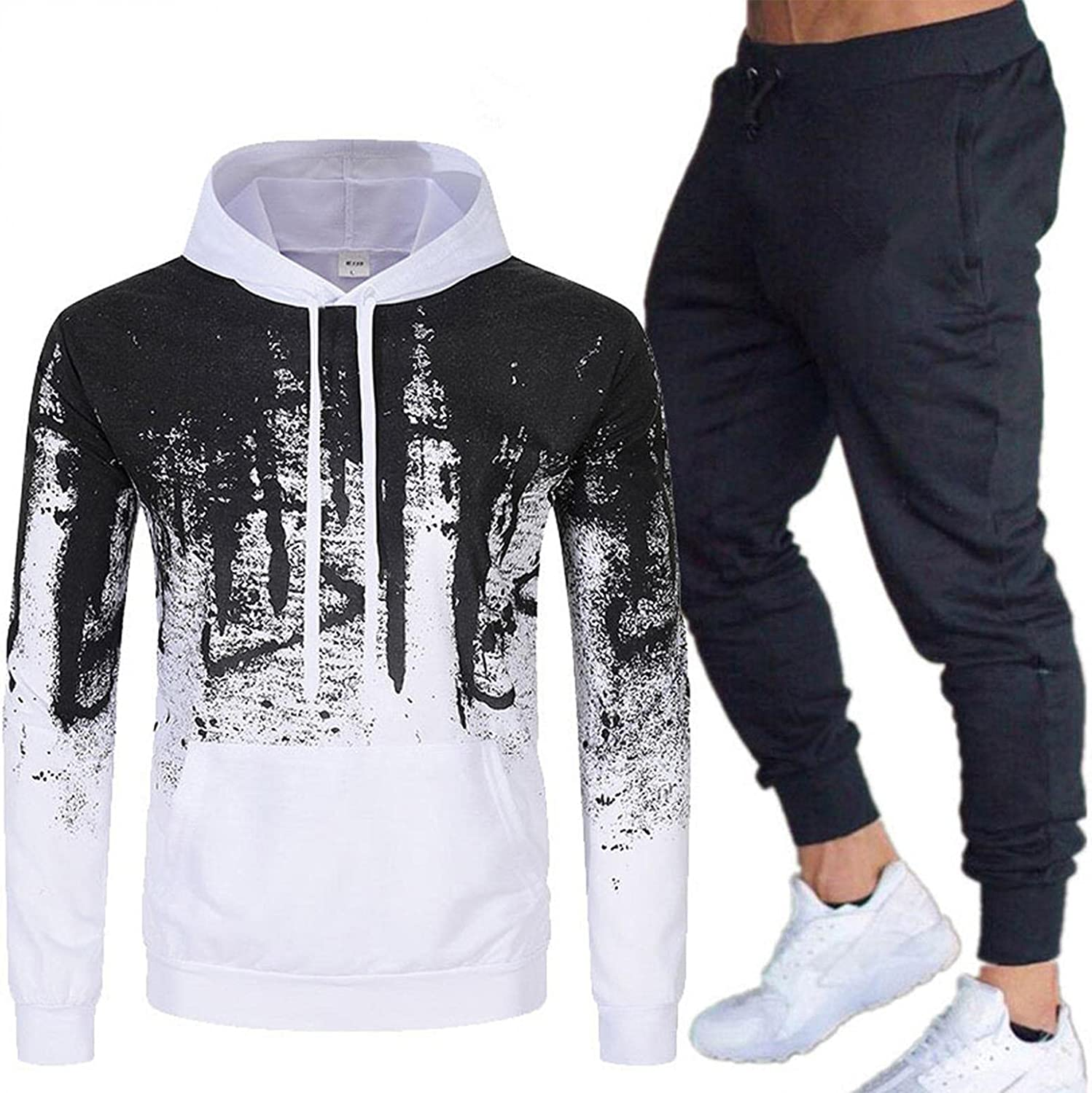 XUNFUN Men's Casual Relaxed Fit Tracksuits 2 Piece Fashion Ink Print Long Sleeve Sweatshirts Jogging Sweatpants Sports Suit