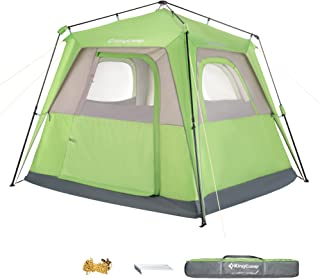 KingCamp Quick-up 3-4 Person Cabin Tent, 7.9 x 7.9 Feet, Top Rainfly, Rainproof, Instant UPF50+ Durable Breathable Outdoor Camping Tent