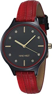 Nine West Women's Crystal Accented Patterned Strap Watch