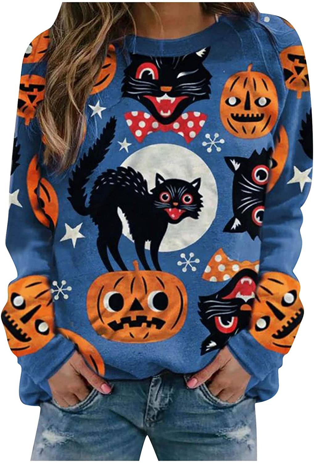 Sweatshirts for Women,Halloween Fashion Pumpkin Graphic Tops Cute Long Sleeve Round Neck Pullover Shirts for Womens