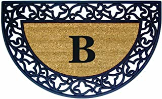Nedia Home Acanthus Border with Half Round Rubber/Coir Doormat, 22 by 36-Inch, Monogrammed B