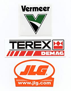 ASIN B07S8STCF5 Terex/Demag, Vermeer, JLG Sticker Bundle: Hardhat/Decals, Value Pack. Great for the Roughneck, Oil Worker, Construction Worker. Looks great on a Helmet, Lunchbox, or Toolbox.