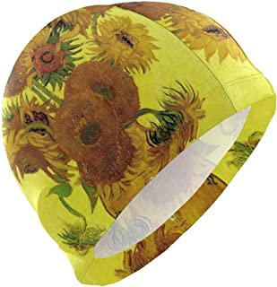 Gorro de baño, gorro de baño, gorro de baño Van Gogh Girasol Pintura al óleo Arte amarillo Estampado floral Gorro de baño Gorro impermeable Baño Ducha Cubierta para el cabello Adultos Hombres Mujeres Jóvenes Niñas Niños