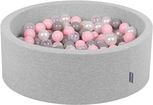 KiddyMoon 90X30cm 300 B e  Cm B ebad Baby Spielbad Mit Bunten B en Rund Made In EU, Hellgrau Perle-Grau-TranSpaßent-Rosa